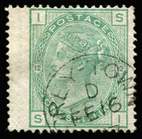 Lot 1408:1865-82 Issues Used in Greytown Wmk Spray 1/- green Pl 12 wing-margin with tidy Grey-Town datestamp and 5/- rose Plate 2 with complete 'GREY-TOWN/AP15/81' datestamp, SG #Z16 & Z21, fine used, Cat £600+. (2)