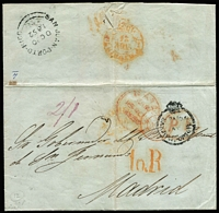 "Lot 2018:1852 (Oct 20) pre-stamp entire to Madrid with 'PAID AT/SAN JUAN PORTO RICO' crowned-circle handstamp in black (SG #CC1, Cat £650 on cover), rated ""2/1"", very fine largely fine 'SAN-JUAN-PORTO-RICO/OC20/1852' British double arc backstamp in black, London Paid & 'ANGL/AMB.CALAIS' transits in red, '10R' postage due handstamp & Madrid arrival datestamp."