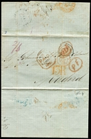 "Lot 1679:1852 (Jun 15) pre-stamp entire to Madrid with partially obscured 'PAID AT/SAN JUAN PORTO RICO' crowned-circle handstamp in black (SG #CC1, Cat £650 on cover), rated ""2/6"", fair 'SAN-JUAN-PORTO-RICO/JU15/1852' British double arc backstamp in black, London Paid & Calais transits in red, '13R' postage due handstamp & Madrid arrival datestamp."
