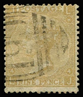 Lot 2077 [2 of 2]:1865-77 Issues Used in San Juan 9d straw Pl 4 & 10d red-brown both with clear 'C61' cancels of San Juan SG #Z101-102, fine used, Cat £475. (2)