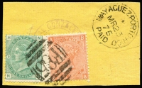 Lot 1413:1873-77 Issues Used in Mayaguez 4d vermilion Plate 14 & 1/- green Pl 9 tied by very fine 'F85' cancel, SG #Z38,Z50, to a yellow piece with very fine 'MAYAGUEZ PORTO RICO/MR25/75/PAID' datestamp alongside. Lovely item.