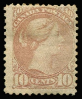 Lot 1266:1873-79 Small Heads Montreal Printing Medium to Stout Wove Paper Perf 11½x12 or 11¾x12 10c deep lilac-magenta SG #100, unused (gum traces), Cat £1,100.