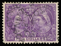 Lot 1311:1897 Jubilee $2 deep violet SG #137, single nibbed perf, well centred, fine used, Cat £425.