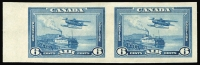 Lot 1315:1937-38 Air 6c blue Seaplane, variety Imperforate pair SG #371v (see Gibbons footnote), fine mint, Cat £850.