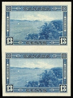 Lot 1259:1937-38 Pictorials 13c blue variety Imperforate pair SG #364v (see Gibbons footnote), fine mint, Cat £700.