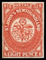 Lot 1232:1857-64 Thick Machine-Made Paper 8d scarlet-vermilion, SG #8, close balanced margins, fine mint, Cat £400.