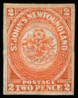 Lot 1234:1860 Medium Hand-Made Paper 2d orange-vermilion, SG #10, complete even margins, fine unused, Cat £600.