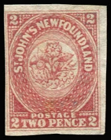 Lot 1301:1862-64 2d rose-lake Heraldic Flower SG #17, complete close to large margins, fine unused, Cat £300.