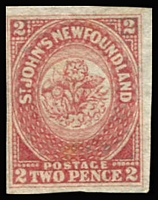 Lot 1237:1862-64 New Colours 2d rose-lake, SG #17, complete close to large margins, fine unused, Cat £300.