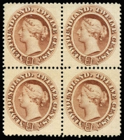 Lot 10481:1865-70 Thin Yellowish Paper 12c yellow-brown Queen Victoria, SG #28, block of 4, fine unused, Cat £2,600+. Rare multiple.