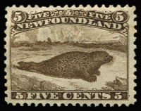 Lot 1239:1865-70 Thin Yellowish Paper 5c brown Seal SG #26, well centred, fine mint, Cat £600. Gorgeous stamp.