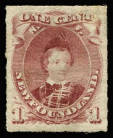 Lot 911:1869-79 Rouletted Issue 1c lake-purple Prince of Wales SG #40, excellent centring for this issue, fine mint, Cat £120.