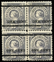 Lot 1352:1897 Surcharges 1c on 3c block of 4 [Rows 4 & 5], the upper pair with Type 36 (thicker) Surcharge SG #80, the lower pair with Type 37 (thinner) Surcharge SG #81, few trivial tonespots, MLH, Cat £500+.