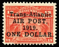 Lot 1495 [2 of 2]:1919 Air Surcharge $1 on 15c bright scarlet plus second example variety No comma after 'AIR POST' SG #143&143a, fine mint, Cat £290. (2)
