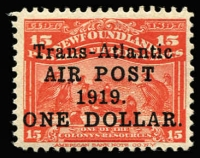 Lot 1495 [1 of 2]:1919 Air Surcharge $1 on 15c bright scarlet plus second example variety No comma after 'AIR POST' SG #143&143a, fine mint, Cat £290. (2)