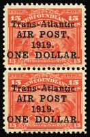 Lot 1248:1919 Air Surcharge $1 on 15c bright scarlet vertical pair, lower unit variety No comma after 'AIR POST' SG #143&a, fine mint, Cat £290+.