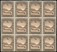 Lot 1252:1931 Air 15c brown block of 12 (4x3), corner stamps watermarked, central pair variety Watermark Cross, the other six units No watermark SG #192,195&a,e, several units MUH, Cat £346++. Great item for the specialist.