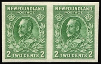 Lot 1254 [2 of 2]:1932-38 Definitives KGV 2c green Die I and II horizontal pairs variety Imperforate SG #223a, fresh mint, Cat £80. (2 pairs)