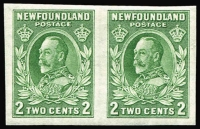Lot 1254 [1 of 2]:1932-38 Definitives KGV 2c green Die I and II horizontal pairs variety Imperforate SG #223a, fresh mint, Cat £80. (2 pairs)