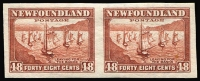 Lot 1307:1932-38 Definitives 48c red-brown Fishing Fleet, variety Imperforate pair SG #228c, fresh MUH, Cat £140+.