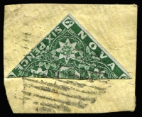 Lot 1258:1851-60 6d green bisect SG #6a tied to small piece by barred cancel, margins largely complete, Cat £5,000 (on cover).