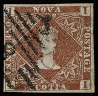 Lot 1257 [1 of 2]:1851-60 Imperf Bluish Paper 1d red-brown SG #1, complete even margins, tidy cancel, 3d deep blue SG #2, tiny central thin, one margin just shaved, 3d bright blue SG #3 few shallow thins, complete margins, plus 6d yellow-green SG #5, shallow thin at left, margins complete; attractive group, present well, Cat £1,345. (4)