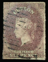 Lot 1261:1857 Blued Paper 6d purple-brown, complete margins (close at left), minor colour diffusion, tidy bars cancel, Cat £450.