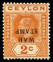 Lot 1320:1918-19 War Tax 2c brown-orange variety Overprint inverted SG #330a, fine mint, Cat £70.