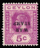 Lot 1322:1918-19 War Tax 5c magenta variety Overprint inverted SG #334a, fine mint, Cat £70.