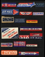 Lot 106 [3 of 5]:World Airmail Labels & Vignettes Collection: mostly on Hagners, with Australia 1940s Qantas Empire Airways luggage label, also Chinese, Korean & Russian labels, plus eight international covers with various airmail labels, some duplicates in packets. Interesting lot. (100s)