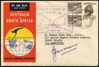Lot 969 [1 of 8]:1950s-1990s Array of mostly covers including 1952 Australia-South Africa (via Cocos) inaugural flight covers x5, 1963 4d airmail concession rate covers x2, both with 'R.A.A.F./SERVICE' handstamps in violet, covers or cards with Inauguration flight cachet in violet x20, few commercial covers, 1966 Australian definitives 1c to $4 set on 5 generic APO FDCs, etc; also stamps with Australia used in Cocos, Cocos 1963 set in corner blocks of 4 MUH; condition generally fine/very fine. (60+ covers plus stamps)