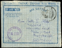 "Lot 976:Indian Army FPO 46 1945 use of formular air letter, headed 'SECURITY: - THINK - BEFORE YOU WRITE!!', to UK with good strike of 'FPO/No 46/21AUG45' datestamp, the letter headed ""37/13 Ind HAA Regt 1A/SEAC"" with fine strike of 'UNIT CENSOR/R.722' handstamp in violet used at Cocos. [On completion of the Cocos airstrip in March 1945, the garrison had built up to approx 5,000 personnel including contingents from the Royal Indian Air Force plus Indian and Sinhalese ground troops]"