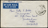 Lot 1367:Indian Army FPO 46 1945 (Oct 25) stampless OAS airmail cover to England with an largely fine strike of the Indian 'FPO/No 46' datestamp used on Cocos, opened a tad roughly.