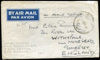 "Lot 1208 [1 of 2]:Royal Air Force PO 301 1945 (Oct 1) stampless OAS cover to England with fair strike of 'RAFPOST 301/1OCT45' datestamp, enclosed three-page letter headed ""SECTION H / SECTION 301/RAF/CEYLON AIR FORCES"" describes an ENSA concert by Gracie Fields compèred by her husband Monty Banks, but complains ""the boys disagree with wasting transport to bring stars to the Far East, when the Government babbles about transport difficulties for getting the lads home;- and mail is held up in Ceylon owing to lack of air facilities to bring it to the remote Cocos Islands!"", cover with minor blemishes only. (4 items)"