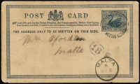 "Lot 1181:1908 use of Western Australian 1d Postal Card to Malta with message dated ""5/4/08"" stating ""...leaving Cocos in a few weeks..."", Perth departure datestamp & Malta arrival datestamp on face, some edge blemishes and a tad soiled. [Telegraphic message was sent from Cocos to Perth, transcribed onto the postal card and then mailed out]"
