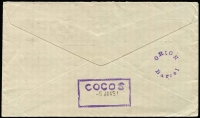 "Lot 1186:1950 (Nov 14) airmail cover from South Africa endorsed ""(for Cocos)"" addressed to ""...Cable & Wireless Limited/PO Box 146/Singapore"" (Box 146 was for Cocos-bound mail), on reverse circular 'ORION/Barrel' and scarce boxed 'COCOS' (dated '5JAN51') cachets, both in violet. Fine condition."