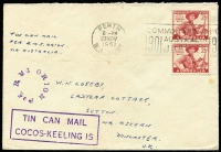 Lot 1187:1951 (Nov 23) cover to UK with very fine to superb strikes of 'TIN CAN MAIL/COCOS-KEELING IS' boxed handstamp and 'Per RMS ORION' circular handstamp both in violet, franked with 2½d Scouts pair tied by Perth slogan cancel, few minor spots.