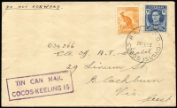 Lot 1188:1952 (Feb 29) cover to Melbourne with Australian ½d Roo & 3½d KGVI tied by largely fine strike of 'RAAF PO/29FE52/COCOS ISLAND datestamp, and a very fine strike of 'TIN CAN MAIL/COCOS-KEELING IS' handstamp in violet. Ex Kim Dwyer .[Scarce use by a RAAF serviceman of Tin Can Mail service]