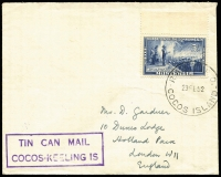 Lot 1189:1952 (Feb 29) cover to UK with 5½d Commonwealth tied by fine strikes of 'RAAF PO/29FE52/COCOS ISLAND' datestamp and 'TIN CAN MAIL/COCOS-KEELING IS' handstamp in violet. [Scarce use by a RAAF serviceman of Tin Can Mail service]