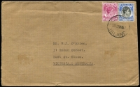 Lot 1190:1952 cover to Australia with Singapore KGVI 10c & 50c P17½x18 tied by 'COCOS/[??]