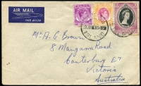 Lot 974:1954 (Jun 22) commercial airmail cover to Australia with Singapore KGVI 5c & 25c plus 10c Coronation tied by Cocos Island datestamp, unsealed flap, fine condition.