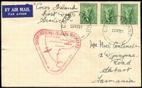 "Lot 1194:1955 (Nov 23) Australian Administration cover headed ""Cocos Island/first day/service"" to Hobart with 4d Koala x3 tied by 'COCOS ISLAND/23NO55' datestamp with flight cachet in red (scarce, only used in red on mail adressed to Tasmania)."