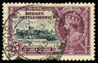 Lot 1179:1936 use of Straits Settlements 25c Silver Jubilee with large-part strike of 'COCOS ISLAND/24AU/1936' datestamp (Proud second type - thick bar at base). Rare!