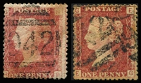 Lot 1294 [2 of 2]:1878-80 Issues Used in Larnaca 1d red Plate 171 x2 & Pl 206 all with clearly discernible barred '942' cancels, some aging otherwise fine, Cat £540. (3)