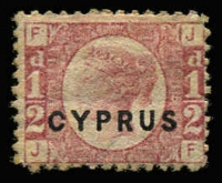 Lot 1326:1880 Overprints on GB ½d Bantam Pl 15 SG #1, part gum, Cat £120.