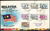 Lot 2 [3 of 5]:Assortment with Australia pre-decimal or decimal FDCs plus other FDCs from Malaysia, Singapore, NZ, etc; also packets of stamps on-paper from Canada & Norfolk Is.