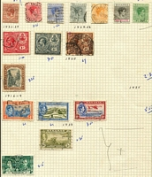 Lot 7 [1 of 2]:Bahamas 1910s-60s modest mostly used array on album pages with KGV 1920 Peace 2d & 3d, KGVI to 5/- including Great Seal 2/- mint & 3/- used, QEII to 8d & 2/-. (42)