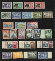 Lot 13 [3 of 5]:British Commonwealth KGVI/QEII Array mostly short or broken sets including Somaliland KGVI 1951 Surcharges set (ex 2s on 2r), Pitcairns 1940 KGVI set (ex 2d, 4d & 8d), Ascension QEII 1956 ½d to 1/-, Caymans KGVI 1950 to 1/-, etc; odd tone, but all stamps MUH and mostly very fine, Cat £200+. (125)