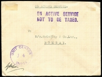 Lot 43 [1 of 8]:India WWII Military Mail selection of covers with various FPO datestamps and censor markings, mostly internal to Grindlay & Co (bankers, Bombay), one with 'ON ACTIVE SERVICE/NOT TO BE TAXED' handstamp in violet, also two to UK & one to USA. Usual mixed condition. (13)