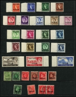 Lot 44 [3 of 5]:Morocco Agencies - Tangier 1949-57 Array including 1949 2d to 1/- used (Cat £150+), 1950-51 set (ex 4d) used plus 2/6d & 5/- on piece with QEII ½d 6d & 7d, QEII 1955 Castles 2/6d to 10/- sets x2 mint (one set MUH) plus used, 1957 Centenary set marginal MUH, also various used duplicates; some used stamps with British postmarks; generally fine, Cat £350+. (130)